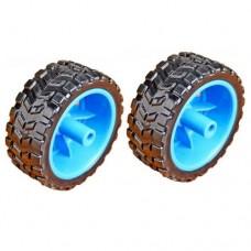 Rubber Tire Wheel Pair (Blue 65mm)