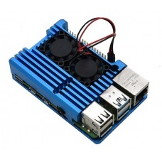 Armor Case with Dual Fan for Raspberry Pi 4 (Blue)